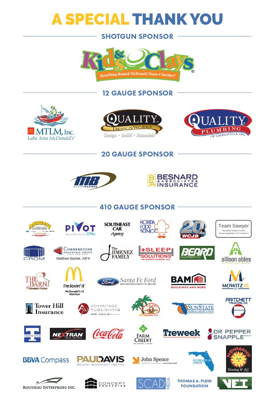 Sporting Clays Tournament 2018 Sponsors